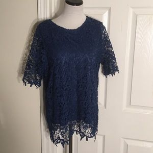 NWT Philosophy Lace Overlay Top Size Large